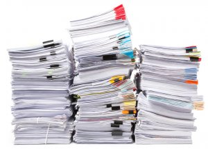 3 stacks of office documents