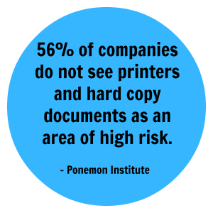 56% of companies do not see printers and hard copy documents as an area of high risk
